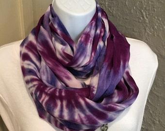 Tye dye scarf, hand dyed Infinity scarf, purple and lavender infinity scarf, rayon infinity scarf, circle scarf