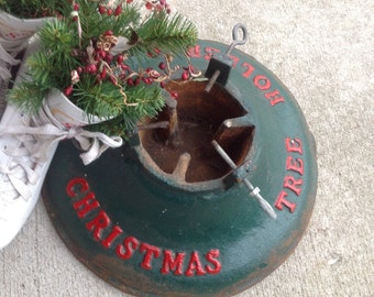 Vintage Cast Iron Christmas Tree Holder/Stand in Red and Green