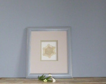 Shadow box frame,  grey upcycled frame, doily framed, vintage frame, cottage chic