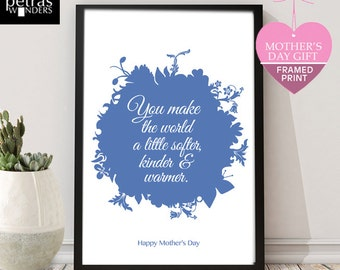 Mother's Day Gift, Mother and Granny print, Mother's Day Print, A mother makes the world a little softer,kinder and warmer wall art.