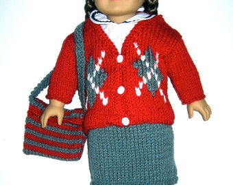"Doll Skirt and Sweater Outfit 18"" AG Doll Red Argyle Sweater and Gray Skirt Set with Purse"