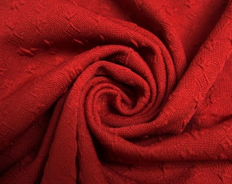 Red Jacquard Knit Stretch Fabric Bejeweled Pattern - Style 467