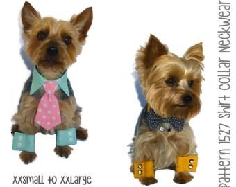 Dog Shirt Collar & Dog Cuff Pattern 1527 * XXSmall to XXLarge * Dog Clothes * Dog Wedding Collar * Dog Bow Tie Collar * Dog Neck Tie Collar