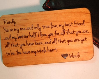 Wood Engraved Wallet Insert, Custom Personalized Wallet Card  Engraved Wallet Card, Anniversary Wedding Groom's Father's Day Gift