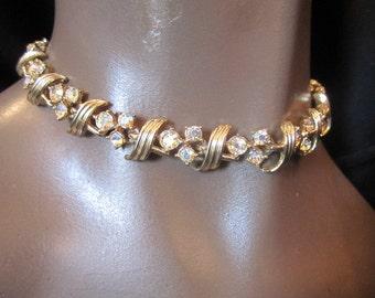 Vintage Aurora Borealis Crystal Gold Tone Necklace, ca 1950s