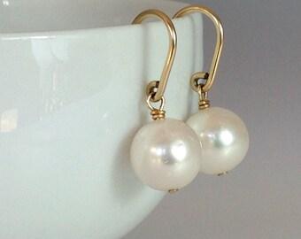 Creamy Freshwater Pearls On 14k Gold Fill Earrings