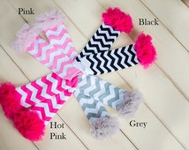 Baby Leg Warmers, Baby Leggings, Baby Leg Warmers Girl, Pink Grey Chevron Leg Warmers, First Birthday Leg Ruffle Warmers