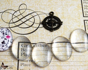 50- 22x30mm Oval Glass Cabochons - Crystal Clear Glass Dome Oval Cabochons