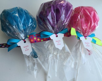 Girls Spa Party Favor Bath Puff Lollipop