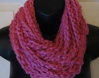More Colors Available....Chunky Pink Infinity Scarf...Cowl...Neck Warmer....Crochet...Chain...Necklace....Accessory...Gift