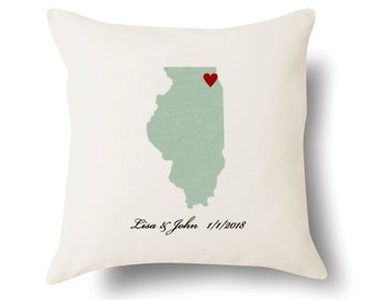 Personalized Illinois Pillow - Text Embroidered - Off White 100% Cotton - 18x18 - Illinois Map Pillow - 4 Color Choices