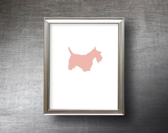 Scottish Terrier Art 8x10 - UNFRAMED Hand Cut Scottie Silhouette Print - 4 Color Choices - Personalized Name or Text Optional