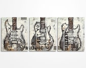 Guitar painting Music Art Electric Guitar Art Original Large abstract guitar painting on canvas- triptych by Magda Magier MADE TO ORDER