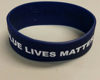 Blue Lives Matter rubber bracelet 3/4""