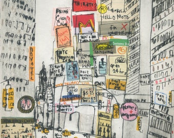 TIMES SQUARE ART, New York City, Home Decor Nyc Taxi, Manhattan Wall Art, Broadway, Signed Limited Edition Print, Drypoint, Clare Caulfield