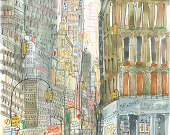 Chrysler Building New York City, Signed Limited Edition Print, Watercolor Painting, NYC Taxi, Glasers Bake Shop, Chrysler Art Print,