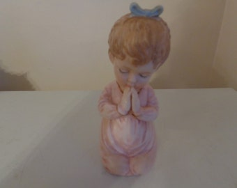 Vintage Hand-painted Bisque Porcelain Kneeling And Praying Angel Figurine, 1960's, Made In Japan With Original Sticker - Angel Figurines