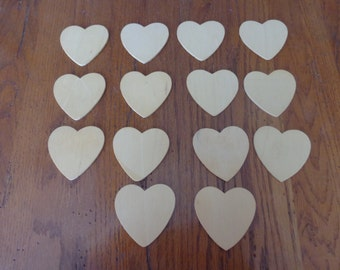 Set Of 14 Heart Unfinished Wood Cut Outs - Craft Supplies - Wooden Hearts - Craft Projects - Kid's Craft Projects