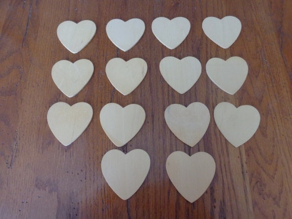 Set of 14 heart unfinished wood cut outs craft supplies for Wooden hearts for crafts