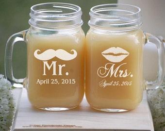 Mason Jar Glasses - Personalized Wedding Gift - Toasting Glasses - Mason Jar Mugs - Barn Wedding - Bride and Groom