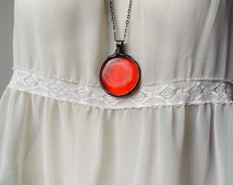 red pendant, nostalgic, red glass, fused glass, statement necklace, red glass by MARIAELA, suncather