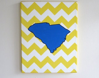 hand painted South Carolina state outline with chevron background 11X14 canvas, customizable