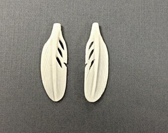 2 Pc White Carved Bone Feathers,  Ivory Color 1.5 Inch, 40mm x 13mm, Tribal, Native American, Bone Feather Earrings - BF101-2
