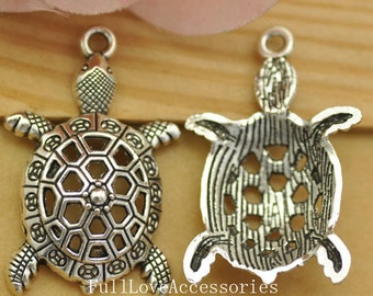 10pcs Antique Silver Tortoise Charms Pendant 25x39mm Turtle Charms Pendant