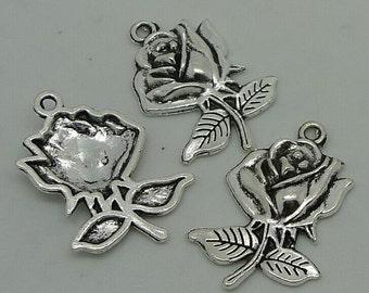15pcs Rose Charms, 16x26mm Antique Silver Rose Charms Pendant, Flower Charms Pendant