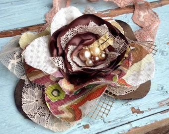 Brown Fabric Flower Headband, Brown Hair Accessories, Hair Flowers, Fabric Flower Brooch, Women's Headband, Girls Headband, Vintage Brown