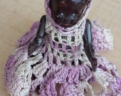 Vintage Black Americana Bisque Porcelain Jointed Plastic Baby with custom crochet dress