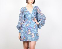 Vintage Hippie Dress Blue Floral Print Angel Sleeve Dress Kimono Puff Fan Sleeve Dress Empire Waist 1970s Boho Festival Dress XS Extra Small