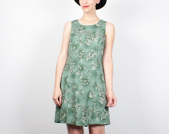 Vintage 90s Dress Moss Green Floral Print Mini Dress Soft Grunge Dress Babydoll Dress Lace Up Back Sundress 1990s Dress M Medium L Large