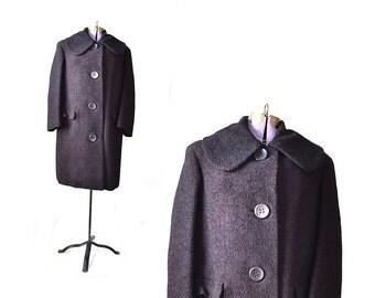 1950s  Boucle Wool Coat / Purple Coat  Coat / Medium Wool Coat / Black Coat / Fur Winter Coat / Women Outerwear / Vintage Clothing Outerwear