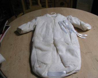 Vintage Made in Portugal quilted and knitted cream baby carrier - one piece.