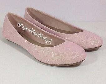 Glitter Shoes- Glitter Ballet Flats- Wedding Flats- Sparkle Flats
