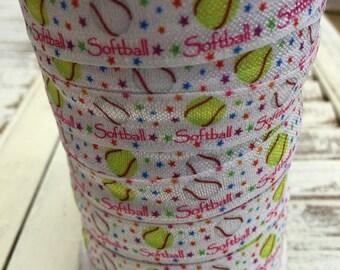 Softball Pink Fold Over Elastic - 5 Yards