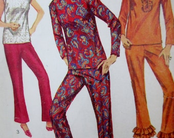 Vintage 1960s  Simplicity Pattern 6853 Misses Two Piece Lounging Pajamas Pattern, Size 12   **Epsteam