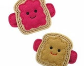 NO Slip Felt Hair Clips- P-NUT Butter & JELLY