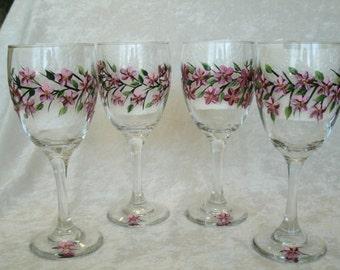 CHERRY BLOSSOM wine glasses set of four