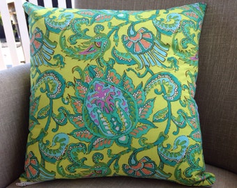 """Amy Butler Soul Blossoms """"Lemon Dancing Paisley"""" 45cm square cushion cover/pillow with EST French linen backing"""