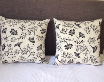 Pair of Cushion Covers in Black and Cream Thea and Sami Marguerite Design fabric