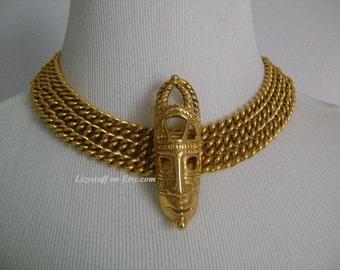 Rare DOMINIQUE AURIENTIS Paris New Zealand Maori African Tribal Dayak Irian Jaya Asmat Mask Center Pendant Triple Chain Gold Plated Necklace