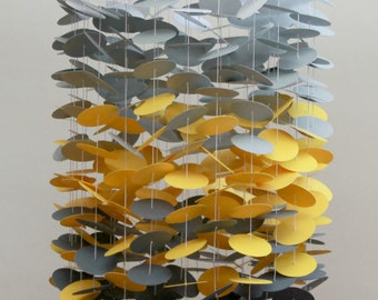 Grey & Yellow Mobile / Baby Mobile / Crib Mobile / Circle Mobile / Custom Mobile / Paper Mobile / Floating Mobile *FREE Shipping to U.S.*