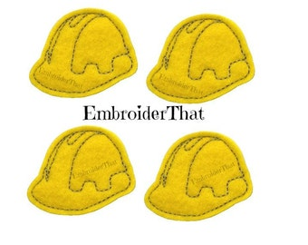 UNCUT Safety Construction Hard Hat felt applique embellishment patch felties (4)