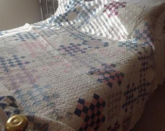 Antique completely hand sewn farmhouse cottage quilt