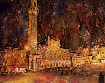Painting of Piazza del Campo in UNESCO World Heritage city of Siena, Italy.  Art Siena painting watercolor.  Watercolor Siena Italy art