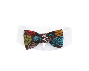Dog/Cat Fall flower & paisley necktie/bowtie on a shirt style collar