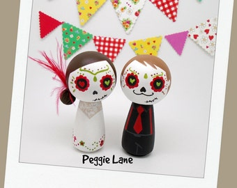 Sugar Skull Wedding Cake Toppers, Sugar Skull bride & groom, Day of the Dead Peg dolls, Fiesta Wedding, Sugar Skull wedding