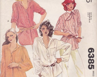 McCalls 6385 Vintage Pattern Womens Button Up Blouse in 4 Variations Size Petite